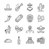 Mexican icons set Royalty Free Stock Image