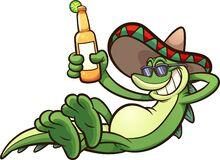 Free Mexican Iguana Holding A Beer Stock Images - 179581244