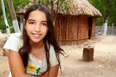Mexican indian Mayan latin girl in jungle. Cabin house Mexico Royalty Free Stock Image