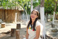 Mexican indian Mayan latin girl in jungle royalty free stock photography