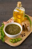 Mexican jalapeno sauce with ingredients. On ruatic table Stock Photography