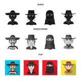 A mexican, a jew, a woman from the middle east, an american. The human race set collection icons in black, flat. Monochrome style vector symbol stock vector illustration