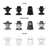 A mexican, a jew, a woman from the middle east, an american. The human race set collection icons in black,monochrome. Outline style vector symbol stock royalty free illustration