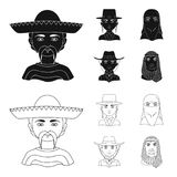 A mexican, a jew, a woman from the middle east, an american. The human race set collection icons in black,outline style. Vector symbol stock illustration stock illustration