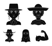 A mexican, a jew, a woman from the middle east, an american. The human race set collection icons in black style vector. Symbol stock illustration vector illustration