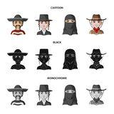 A mexican, a jew, a woman from the middle east, an american. The human race set collection icons in cartoon,black. Monochrome style vector symbol stock vector illustration