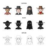A mexican, a jew, a woman from the middle east, an american. The human race set collection icons in cartoon,black. Outline style vector symbol stock stock illustration