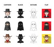 A mexican, a jew, a woman from the middle east, an american. The human race set collection icons in cartoon,black. Outline,flat style vector symbol stock stock illustration