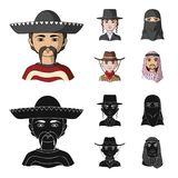 A mexican, a jew, a woman from the middle east, an american. The human race set collection icons in cartoon,black style. Vector symbol stock illustration vector illustration