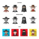A mexican, a jew, a woman from the middle east, an american. The human race set collection icons in cartoon,flat. Monochrome style vector symbol stock royalty free illustration