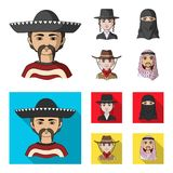 A mexican, a jew, a woman from the middle east, an american. The human race set collection icons in cartoon,flat style. Vector symbol stock illustration vector illustration