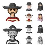 A mexican, a jew, a woman from the middle east, an american. The human race set collection icons in cartoon,monochrome. Style vector symbol stock illustration vector illustration