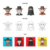 A mexican, a jew, a woman from the middle east, an american. The human race set collection icons in cartoon,outline,flat. Style vector symbol stock illustration vector illustration