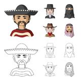 A mexican, a jew, a woman from the middle east, an american. The human race set collection icons in cartoon,outline. Style vector symbol stock illustration royalty free illustration