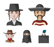 A mexican, a jew, a woman from the middle east, an american. The human race set collection icons in cartoon style vector. Symbol stock illustration stock illustration