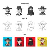 A mexican, a jew, a woman from the middle east, an american. The human race set collection icons in flat,outline. Monochrome style vector symbol stock stock illustration