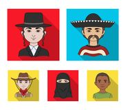 A mexican, a jew, a woman from the middle east, an american. The human race set collection icons in flat style vector. Symbol stock illustration royalty free illustration