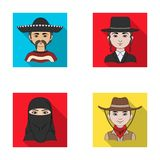 A mexican, a jew, a woman from the middle east, an american. The human race set collection icons in flat style vector. Symbol stock illustration stock illustration