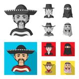 A mexican, a jew, a woman from the middle east, an american. The human race set collection icons in monochrome,flat. Style vector symbol stock illustration stock illustration