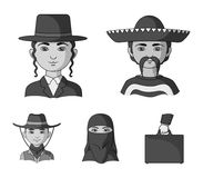 A mexican, a jew, a woman from the middle east, an american. The human race set collection icons in monochrome style. Vector symbol stock illustration royalty free illustration