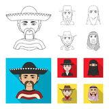 A mexican, a jew, a woman from the middle east, an american. The human race set collection icons in outline,flat style. Vector symbol stock illustration stock illustration
