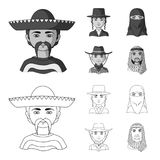 A mexican, a jew, a woman from the middle east, an american. The human race set collection icons in outline,monochrome. Style vector symbol stock illustration stock illustration