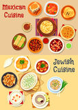 Mexican and jewish cuisine dinner icon. Mexican and jewish cuisine icon with vegetable chili, cheese, bean beef stew, fish, forshmak, bean burrito, fish soup Royalty Free Stock Photo
