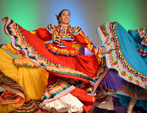 Mexican Lady Dancers. Female Mexican dancers at the Holiday Folk Fair International at State Fair Park in Milwaukee, WI Royalty Free Stock Photo