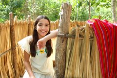 Mexican latin girl in jungle cabin house Royalty Free Stock Photography