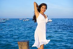 Mexican latin woman in Riviera Maya. Mexican latin woman at Caribbean sea of Riviera Maya in Mexico stock photos