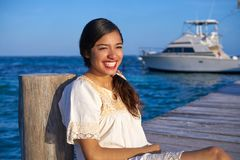 Mexican latin woman in Riviera Maya. Mexican latin woman with ethnic dress in caribbean sea at Riviera Maya stock image