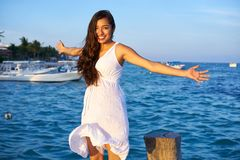 Mexican latin woman in Riviera Maya. Mexican latin woman happy at Caribbean sea of Riviera Maya in Mexico stock photos