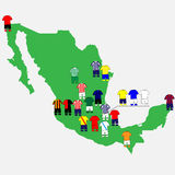 Mexican League Clubs Map Stock Photography