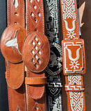 Mexican leather belts Royalty Free Stock Photos
