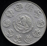 Mexican Libertad Silver Coin 1 Ounce. On black background Royalty Free Stock Images