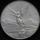 Mexican Libertad Silver Coin 1 Ounce. On black background Royalty Free Stock Photography
