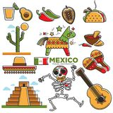 Mexican lifestyle template in traditional attributes colorful set Stock Image