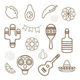 Mexican line icons collection. Royalty Free Stock Photos