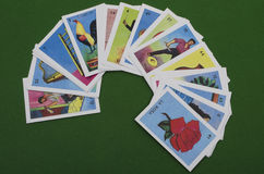 Mexican lottery. Lottery. Mexican board game, similar to bingo but using images on a deck of cards. To start the game, the caller (cantor, or singer) randomly royalty free stock images