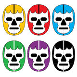 Mexican Lucha Wrestling Masks Icons. 6 color variations of Mexican lucha wrestling masks Royalty Free Stock Photography