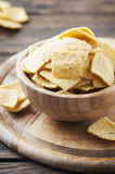 Mexican mais chips on the wooden table Royalty Free Stock Image