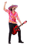 Mexican male brandishing guitar isolated Stock Photography