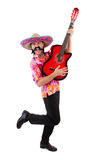 Mexican male brandishing guitar isolated Royalty Free Stock Photos