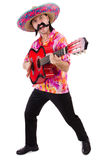 Mexican male brandishing guitar isolated Royalty Free Stock Images