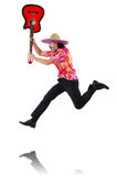 Mexican male brandishing guitar isolated Stock Image