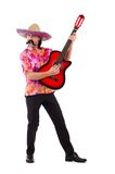 Mexican male brandishing guitar Royalty Free Stock Image