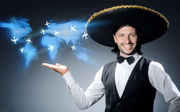 The mexican man in air travel concept Stock Photography