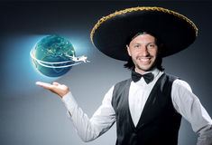 The mexican man in air travel concept Royalty Free Stock Photography