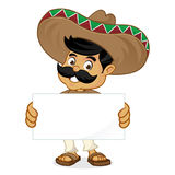 Mexican man cartoon holding blank sign Stock Photos