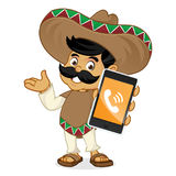 Mexican man cartoon holding phone Stock Photo